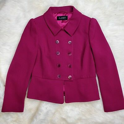 PLANET Women's Blazer Size 8 Berry Pink with Peplum