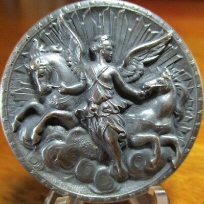 """Very Old French Silver/P 1940s Vintage Button """"AURORA & HORSES"""" BBB Plate 125"""