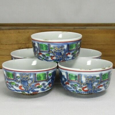 H982: Chinese old painted porcelain tea cups for SENCHA of popular BANREKI style