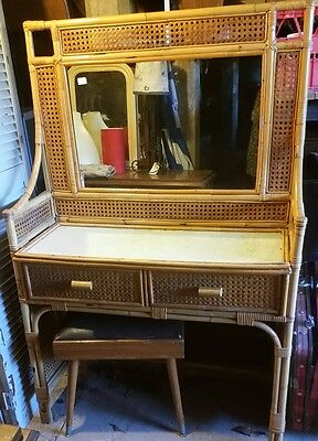 retro cane dressing table