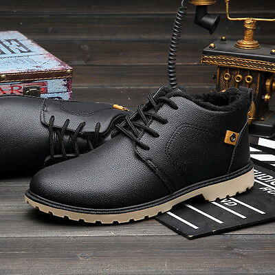 Winter Warm Ankle Boots Men High Top Formal Casual Leather Shoes Sports Sneakers