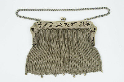 Antique Ornate Early 1900's German Silver Marked Mesh Chain Mail Womens Purse
