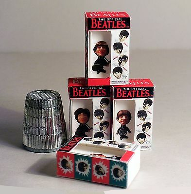 Dollhouse Miniature 1:12 scale  Set of 4 Beatles Doll Boxes 1960s Dollhouse