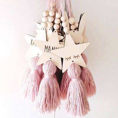 Nordic Style Cute Star Shape Wooden Beads Tassel Pendant Wall Hanging Ornament