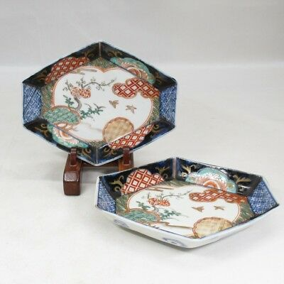 A059: Japanese OLD IMARI colored porcelain pair of plate with good shape