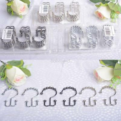 12Pcs Stainless Steel Shower Window Curtains Ring Double Glide Hooks Liner AU