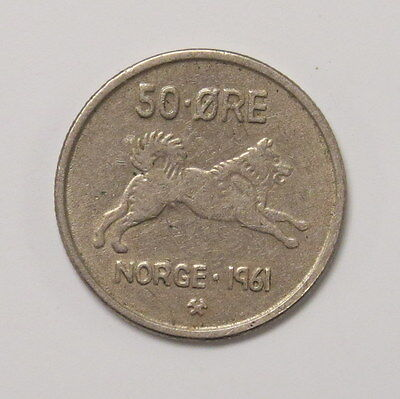 1961 Norwegian 50 Ore Coin..norge Elkhound! Excellent Coin!!  Free Shipping!!!