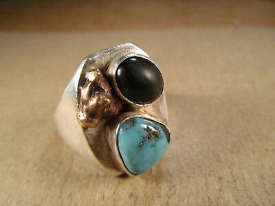 Old Pawn Sterling Silver & Turquoise Ring, Signed Black Hawk, Size 10.25, 11.5g