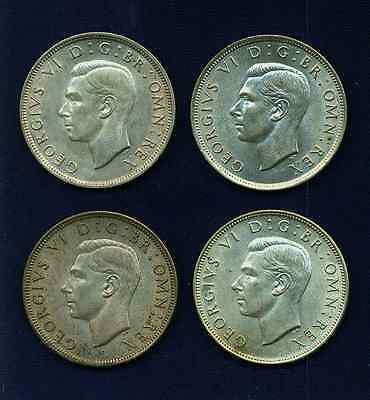 G.b./u.k./england  Half-Crown Coins: 1941, 1942, 1943, & 1946, Group Lot Of (4)