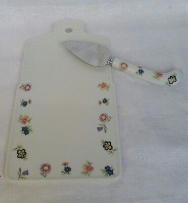 House Of Prill Cheese Board With Cutter Porcelain Flowers Kitchen Collectable