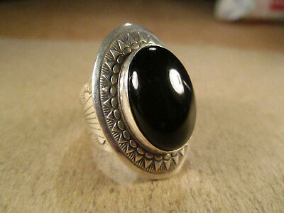 Sterling Silver & Black Onyx Ring, QT Quoc, Size 6.5, 11.5g
