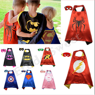 1.99 Kids Super Hero Costume Cape Mask Batman Superman Outfit free shiping