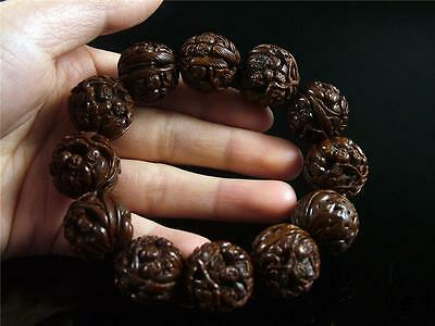 Fine Old Chinese Authentic Walnuts Carved Bracelet Prayer Beads w/ FAIRY BOYS