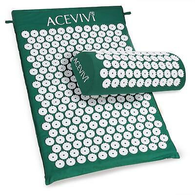 Massage Acupressure Mat Yoga Sit Lying Mats Stress/Pain/Tension Relief + Pillow