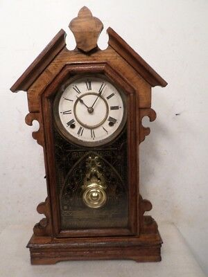 Ansonia Oak Parlor Clock With Dated & Signed Brass Movement