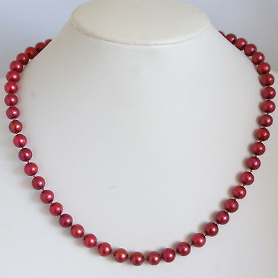 Vintage c1980s 14k Gold Dyed Red Cultured Pearls Individually Knotted