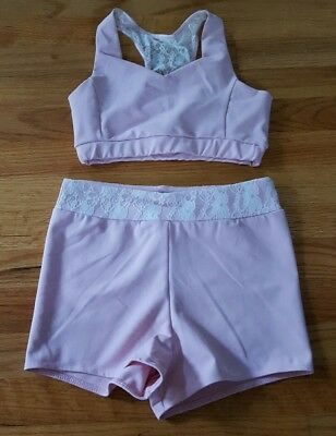 Purple Pixies Kalani Collection 2pc Bra Top Short Lovely Lace Pink Size Adult XS