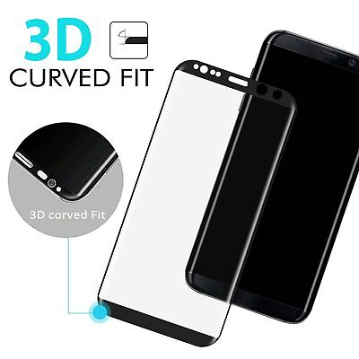 Samsung Galaxy S8 3D Full Coverage Tempered Glass Screen Protector White Color