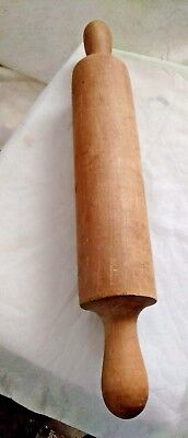 "Antique Vintage Solid Wood Rolling Pin 15"" Long One Piece Primitive Kitchen"