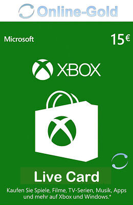 Xbox Live Card - 15 Euro Microsoft Guthaben - ms Xbox 360 / Xbox One Live Card