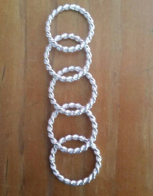 Solid Sterling Silver Twist Rings 19mm x 2.3mm