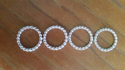 Solid Sterling Silver Twist Rings 17mm x 2.3mm