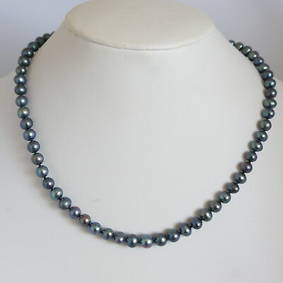Vintage c1980s Sterling Cultured Peacock Pearl Single Strand Necklace