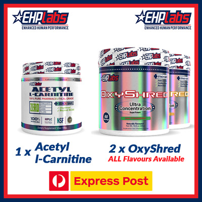 EHPlabs OXYSHRED TWIN Pack + FREE EHPlabs Acetyl L-Carnitine (FREE EXPRESS POST)