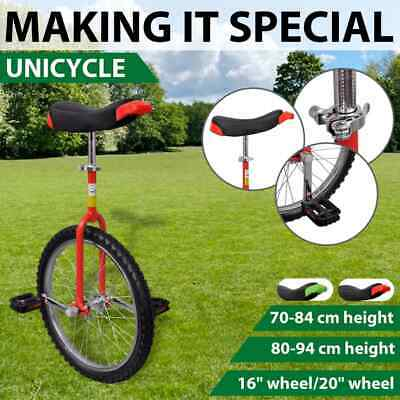 """Red/Green 16""""/20"""" Fun Unicycle Uni Cycle Scooter Circus Pro Bike Youth Adult"""