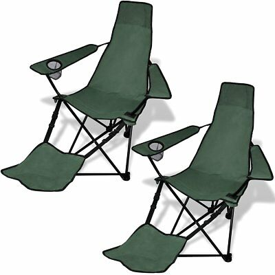 2X Folding Outdoor Travel Camping Fishing Chair w/ Footrest Seat Arm Dark Green
