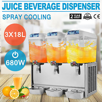 54L Juice Beverage Dispenser Bubbler 3 Tanks Commercial Ice Tea Cold Drink