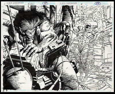 X-Men Chronicles #2 Double Page Splash Art by Jerry Bingham The Beast Holocaust