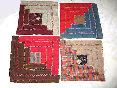 Antique 1800s Log Cabin Quilt Block Squares 14 Wool Hand Cross Stitched