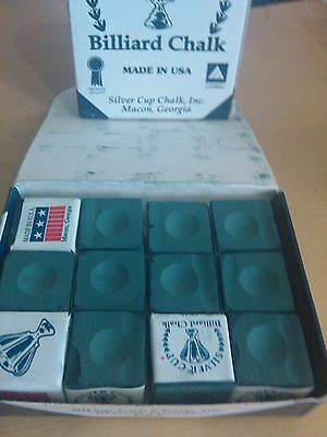 RANGER GREEN BY SILVER CUP (USA) Pool Snooker Billiard Table Cue Chalk 12 Pcs