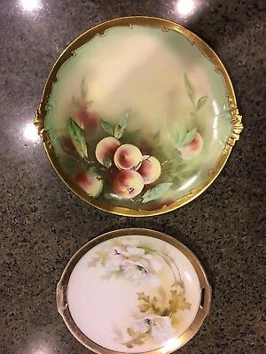 """2 Hand Painted Pickard China Artist Signed 12.5"""" + R & S Germany  Cabinet Plates"""
