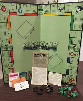 Antique Monopoly Board Game - cardboard counters + wood houses + box + cards