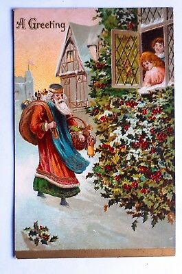 Early 1900s A Greeting Santa Claus Father Christmas Postcard Embossed Germany