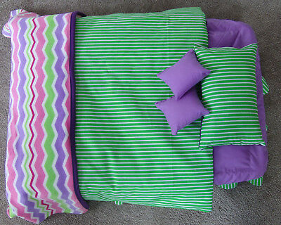 Doll Bed and Storage System - Quilt, Blanket, Pillows, Valance and Sheet