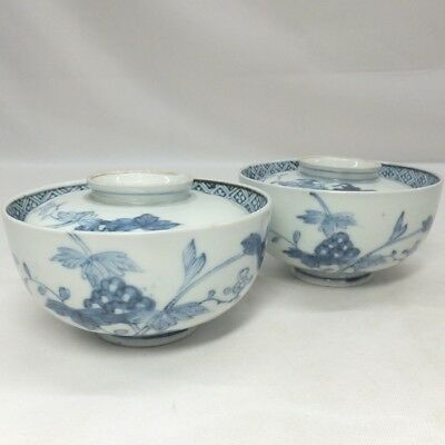 A196: Real old Japanese IMARI blue-and-white porcelain pair of covered bowl