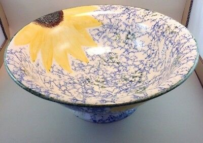 Stunning Rarely Available Poole Pottery sunflower Design ,v.large pedestal Bowl