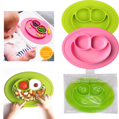 1x Kids Cute Silicone Happy Mat Baby Suction Table Food Tray Placemat Plate Bowl