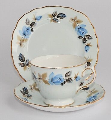 Vintage Colclough Trio - Pale Blue with Blue Roses #8306