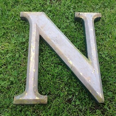 """Vintage Hand Made Hardwood Letter  """"n"""", 10"""" High,  In Good Old Used Condition."""