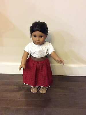 American Girl Josefina Doll with Meet Outfit and gold hoop earrings