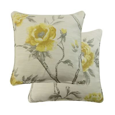 """2 X Floral Flowers On Vines Ochre Yellow Beige Piped 18"""" - 45Cm Cushion Covers"""