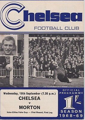 CHELSEA v MORTON ~ INTER CITIES FAIRS CUP ~ 18 SEPTEMBER 1968