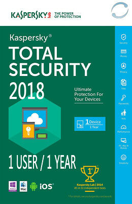 Kaspersky Total Security 2018 - 1 Usuarios 1 Año 1 PC 1 Year - EU Version Only