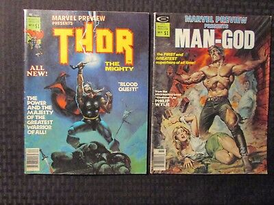 1976 Marvel Preview Presents Magazine MAN-GOD #9 & THOR #10 VG+ 4.5 LOT of 2