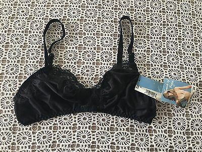 NWT VINTAGE TOUCH OF CLASS LACY PLUNGE FRONT CLOSURE BLACK BRA 34 80's? #2403