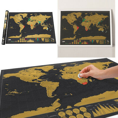 Gift Deluxe Travel Edition Scrape Off World Map Personalized Poster Journal Log